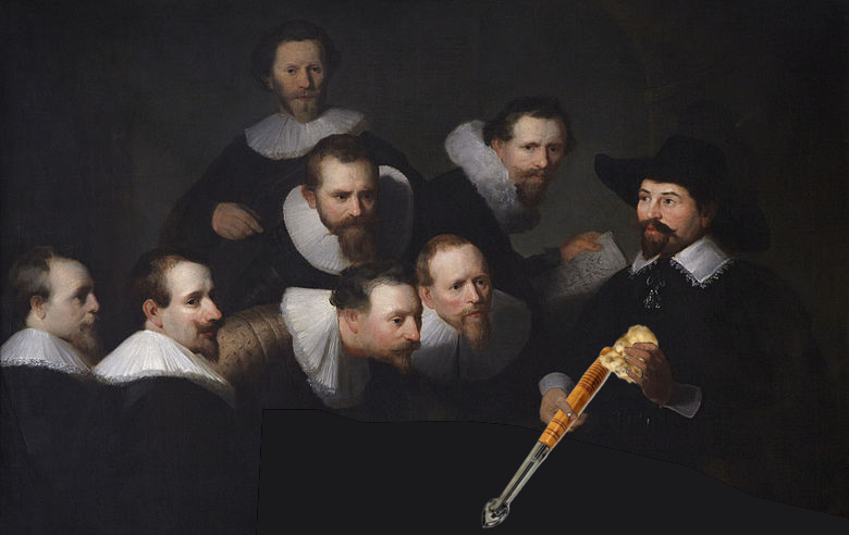 "Reinterpretation of Rembrandt's painting ""anatomy lesson"" with Dr. Tulp holding a truffle and a spade in his hands instead of phobics and scalpels"