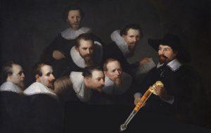 """Reinterpretazione del dipinto di Rembrandt """"lezione di anatomia"""" con il dottor Tulp che tiene un tartufo e un vanghetto nelle mani al posto di fobici e bisturi"""